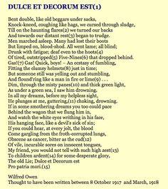 Wilfred Owen - Dulce et Decorum est, suffering and suffocation