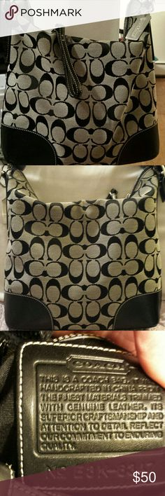 Coach Signature Jacquard Canvas w/ Leather trim Coach 6347 Black And Gray Signature Jacquard Canvas with Leather Trim  Convertible Crossbody Tote  Zipper is stiff but works some scuffs on corners  Good condition Coach  Bags Crossbody Bags