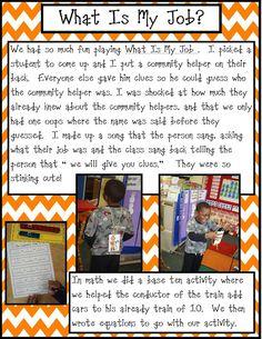 Golden Gang Kindergarten: Love this for community helper - what is my job?
