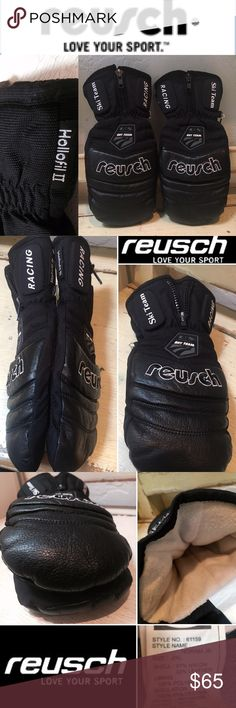 REUSCH NORAM JR XL RACING LEATHER SKI MITTENS PRE OWNED, gently worn top selling NORAM JR. Reusch Leather mittens. Sz Jr. XL STYLE# 61159. THE attached finger linings inside mittens for added warmth. RETAIL: $140 NO tears, rips, or odors.  . Reusch uses only the finest materials & designs. Thinsulate and Fiberfill insulation provides maximum warmth; treated to maintain a hygienic balance.US Ski Team logo on top of mitten. Shell: 100% leather Palm: reinforced w/100% LEATHER Knuckle and wrist…