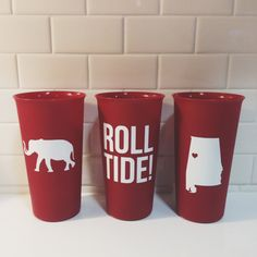 University of Alabama Cups  Set of 3 by morgansmithdesign on Etsy, $10.00