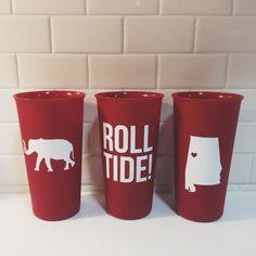 University of Alabama Cups Set of 3 by morgansmithdesign on Etsy, $10.00