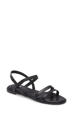 Eileen Fisher Cahill Strappy Sandal available at #Nordstrom Weather Wear, Warm Weather, Strappy Sandals, Eileen Fisher, Black Leather, Nordstrom, Slim, How To Wear, Number