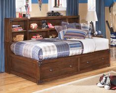 Shop Ashley Furniture Delburne Twin Bookcase Storage Bed with great price, The Classy Home Furniture has the best selection of Kids Beds, Beds to choose from Full Bed With Storage, Twin Storage Bed, Bookcase Headboard, Bookcase Storage, Storage Drawers, Storage Headboard, Headboard Ideas, Headboards, Nebraska Furniture Mart