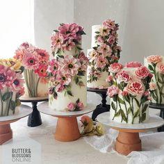 Buttercream Cake Designs, Buttercream Flowers, Bolo Floral, Floral Cake, Elegant Wedding Cakes, Wedding Cake Designs, Fancy Cakes, Cute Cakes, Mini Cakes