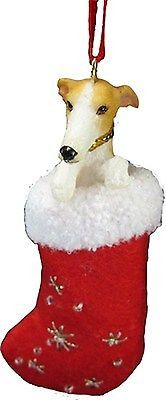 Greyhound or Whippet Dog in Stocking Ornament * Choose Fawn & White or Brindle * Prepare to fall in love with the fabulously detailed little face and sparkling eyes peeking over the top of the plush s