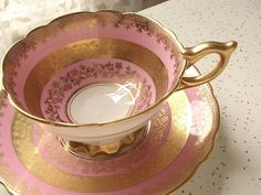 Antique Royal Stafford pink tea cup set, English tea cup and saucer, pink and gold tea cup, bone china tea set, antique tea cup, pink cup by ShoponSherman on Etsy https://www.etsy.com/listing/170003303/antique-royal-stafford-pink-tea-cup-set