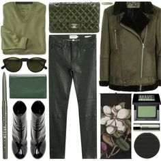 green with envy by foundlostme on Polyvore featuring Topshop, Frame, E L L E R Y, Chanel, Buxton, RetroSuperFuture, Make, Stila, Sensai and AllGreen
