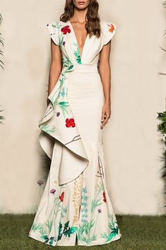58a27d41b9f1 Fashion Fluted Cotton Sateen Evening Dress Floral Maxi Dress Beautiful Maxi  Dresses