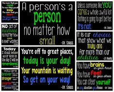 Free motivational posters with children's book quotes from well known authors like Dr. Seuss and J.K. Rowling.