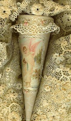 Victorian Snow Angel Velvet & Vintage Lace Candy Cone Tussie Mussie