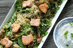 Få oppskriften på Fru Timians knallgode SALMA-rett! Couscous, Seaweed Salad, Cobb Salad, Healthy, Ethnic Recipes, Health