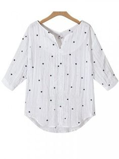 Star Printing Shirts 3/4 Sleeve V-Neck  Irregular Loose Women Blouses