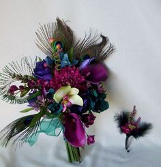 Teal Peacock Wedding Bouquet