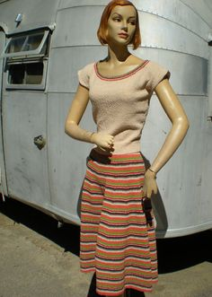 Vintage 1950's Squaw Western Fiesta Knit Set Blouse Skirt Missoni Like Metallic Thread