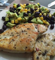 The chicken was SO GOOD  salsa: avocado corn cucumber black beans