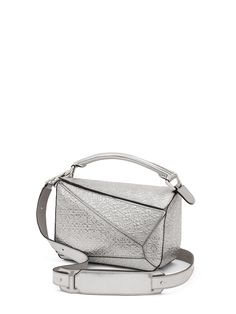 Loewe   Silver Small Metallic Embossed Leather Puzzle Shoulder Bag   Lyst eaf559a969