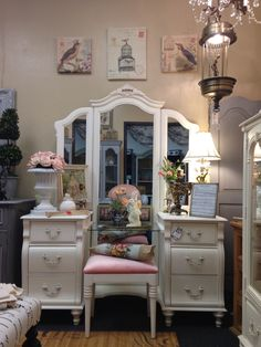 Gorgeous Shabby Chic Stanley Vanity with Full Length Mirror, glass top and Vanity Bench recovered with light pink velvet