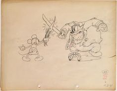 """Original production animation drawing of Mickey Mouse and Peg-Leg Pete from """"Shanghaied,"""" 1934, Walt Disney Studios; Graphite and red pencils on peg hole paper; Numbered 284 lower right; Size - Mickey Mouse & Peg-Leg Pete: 5 x 9 1/4"""", Sheet 9 1/2 x 12""""; Unframed."""