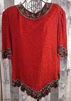 Vintage Laurence Kazar Beaded Sparkle 100% Silk Top Blouse Holiday Bows Size XXL #LaurenceKazar #Top