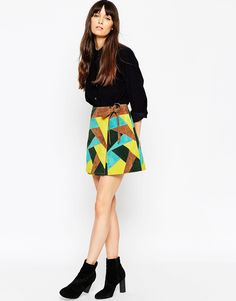 Image 1 ofASOS A-Line Wrap Skirt In Patchwork Suede