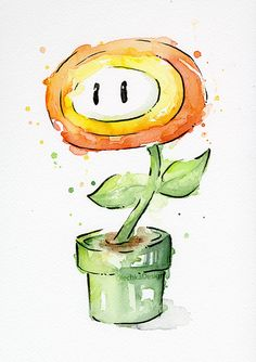 Fire Flower Watercolor Art Print Nintendo Mario Bros Painting Videogame Nintendo Supermario Geek Art Print Gamer Decor Videogame Art - Fire Flower Watercolor Art Print Mario Nintendo Fan Art Home Decor Giclee Art Print from my origina - Mario Bros., Mario And Luigi, Nintendo Mario Bros, Watercolor Flowers, Watercolor Paintings, Painting Canvas, Painting Shower, Canvas Art, Art Aquarelle