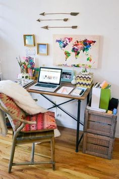 Boho home Office - nyc apartment tour, hipster apartment, small one bedroom apartment, small space Bedroom Desk, One Bedroom Apartment, Apartment Living, Diy Bedroom, Apartment Ideas, Couples Apartment, Apartment Office, York Apartment, Apartment Interior