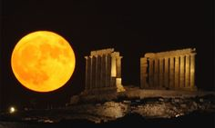 The annual 'supermoon' looks 14% larger than a normal moon, though astronomers say most people might not notice. Photograph: AP
