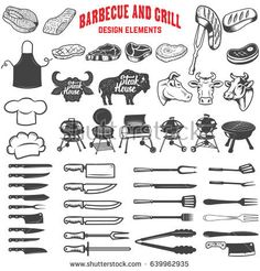 Barbecue and grill. Design elements for logo, label, emblem, sign, menu, poster. Vector illustration