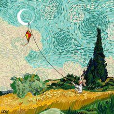 My cartoons show that Van Gogh's life was all about beauty and love. Vincent Van Gogh, Arte Van Gogh, Van Gogh Art, Painting Process, Painting & Drawing, Creative Illustration, Illustration Art, Van Gogh Pinturas, Art History