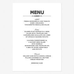 classic wedding menus | Lovely Vintage Wedding menus