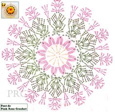 Clippedonissuu From Crochet Motif: - Diy Crafts - DIY & Crafts Crochet Dollies, Crochet Diy, Crochet Potholders, Crochet Chart, Crochet Tablecloth, Crochet Diagram, Crochet Home, Crochet Flowers, Crochet Mandala Pattern