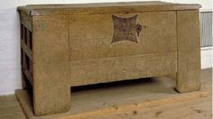 This chest is dated to 15:th century but is of a form commonly used in the 14:th century. The chest has probably seen use as a vestment coffer, serving as storage for the priestly wardrobe. It is made out of oak and relies on square plugs in round holes to keep the parts in place.