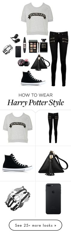 """Harry Potter"" by nevena-vucetic on Polyvore featuring Paige Denim, Converse, Bobbi Brown Cosmetics, Maybelline, Eos and Skullcandy"