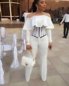 Stylish All White Party Outfits Ideas All White Party Outfits, White Outfits For Women, All White Outfit, Classy Outfits, Clothes For Women, African Wear, African Dress, African Fashion Dresses, Fashion Outfits