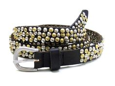 Studded belt 2cm, nice and soft leather with small pyramid studs all over. On black the studs are silver/brass. On dark brown the studs are gold/brass.