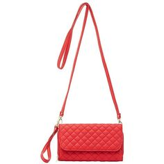 Charlotte Russe Quilted Detachable Strap Crossbody Bag ($16) ❤ liked on Polyvore featuring bags, handbags, shoulder bags, red, quilted shoulder bag, zip pouch, crossbody shoulder bags, crossbody purse and white crossbody handbags