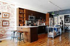 cuisine style industriel meuble de cuisne bois marron foncé