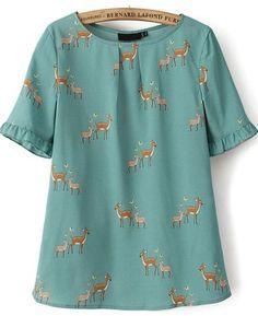 Green Short Sleeve Ruffle Hem Deers Print Blouse - Sheinside.com