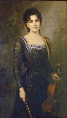 Friedrich August von Kaulbach: Frida von Kaulbach, die Frau des Kuenstlers mit Geige. 1901
