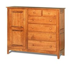 Amish Shaker Mule Chest with 6 Drawers and 1 Door. Made from solid wood, Shaker-style mule chest will add beauty and storage to any space. Can be used as a dresser or closet in a room that doesn't have one. Made to order in your choice of solid wood and finish. Features soft close drawers with dust covers between each drawer. #mulechest