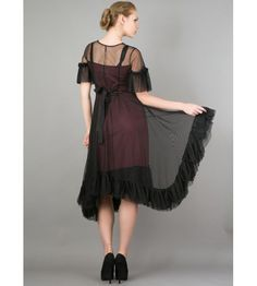 Romantic Black Andalusia Tea Party Dress by Nataya. A brave sheer black overlay against a wine colored dress begs for attention.