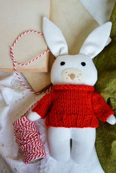 Baby's first christmas stocking filler, stuffed toy animal, the white rabbit, soft toy rabbit, infant and toddler gift by Fernlike on Etsy