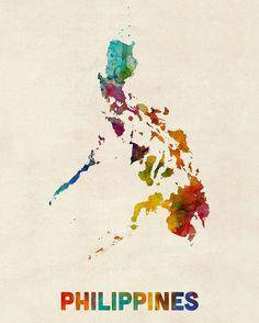 Trademark Global Michael Tompsett 'Philippines Watercolor Map' Canvas Art - 24 x 32 Filipino Art, Filipino Culture, Filipino Tattoos, Philippines Culture, Philippines Travel, Philippines Flag, Philippines Fashion, Map Canvas, Canvas Wall Art