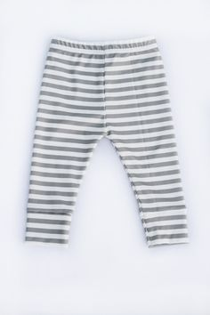 grey & white striped cuffed leggings from Miss j Handmade