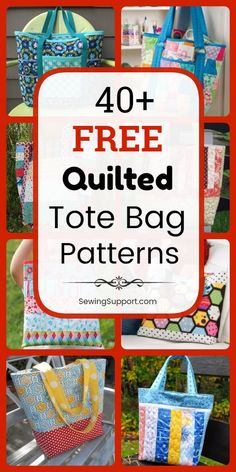 Quilted Tote Bag Patterns: Over 40 free diy sewing projects and tutorials, including lined styles. Many fun patchwork ideas great for use with charm packs and jelly rolls. Instructions for how to sew a quilted tote bag. Crazy Patchwork, Patchwork Bags, Patchwork Designs, Patchwork Ideas, Patchwork Patterns, Bag Pattern Free, Bag Patterns To Sew, Tote Pattern, Jelly Rolls
