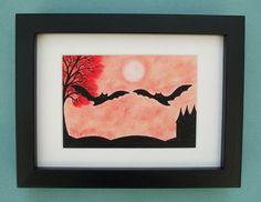 Bat Picture, Bat Gift, Bat Art Print, Framed Bat Picture, Bat Gift, Two Bats Red Tree, Romantic Bat Print, Bat Silhouette, Romantic Gift Bat