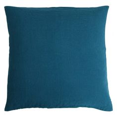 Stone washed linen cushion - Ocean