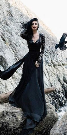 27 Fantastic Black Wedding Dresses To Fall In Love With Gothic Black Dress With Lace Sleeves - Boho Wedding Wedding Dress Black, Perfect Wedding Dress, Wedding Dress Styles, Color Wedding Dresses, Moonlight Couture, Estilo Rock, Fantasy Dress, Gothic Dress, Gothic Gowns
