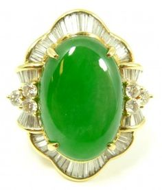 18 K gold imperial jadeite jade cabochon and diamond ring